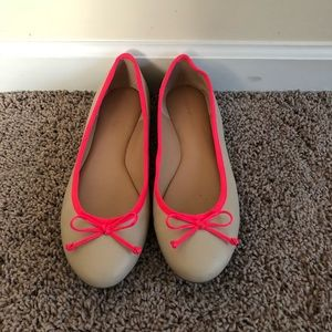 Cream and Neon Pink Ballet Flats